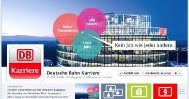 Die neue facebook Karriere-Site der Deutschen Bahn