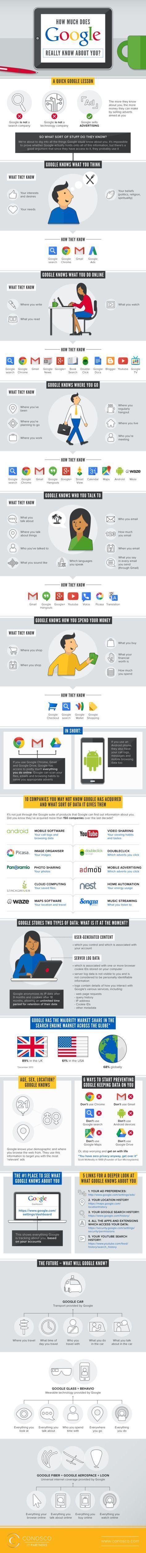 Infografik von www.digitalinformationworld.com: Was google über uns weiß.