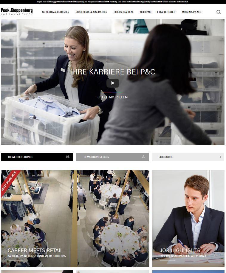 Die Startseite der neuen P&C Karrierewebsite.