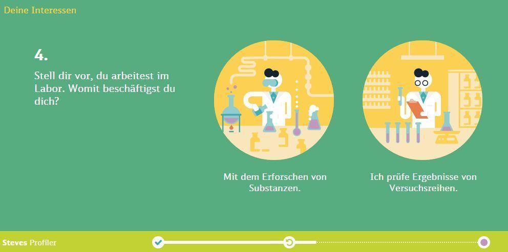 Angabe von Interessen im Deutsche Bahn Job-Profiler.