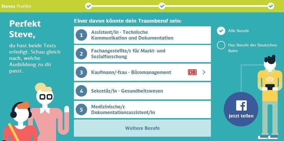 Job-Vorschläge im Deutsche Bahn Job-Profiler.