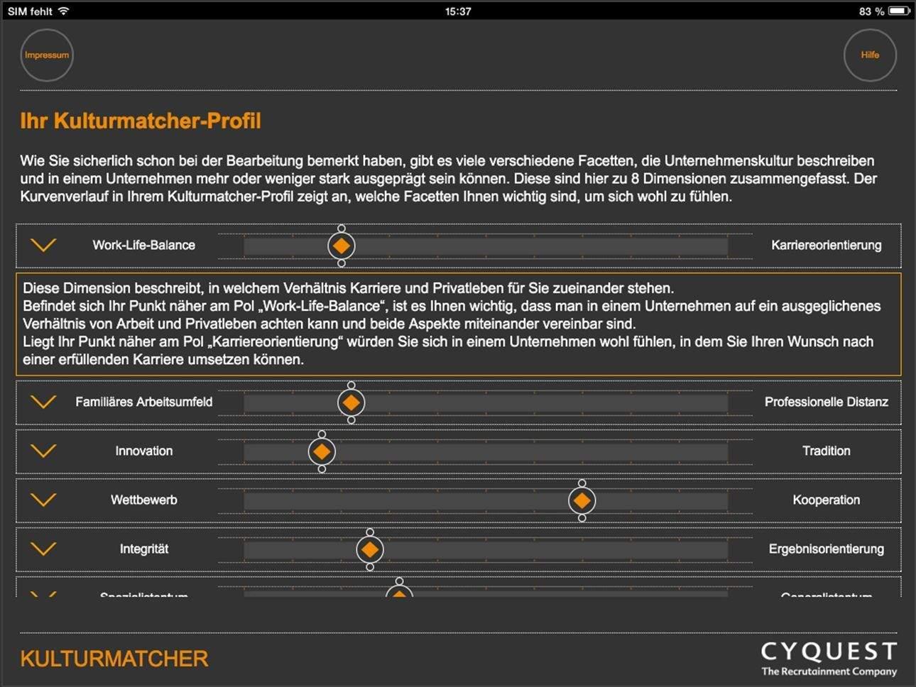 Beispiel-Profil 2 im Kulturmatcher.