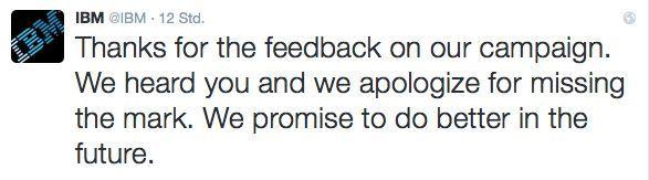 Entschuldigung von IBM.