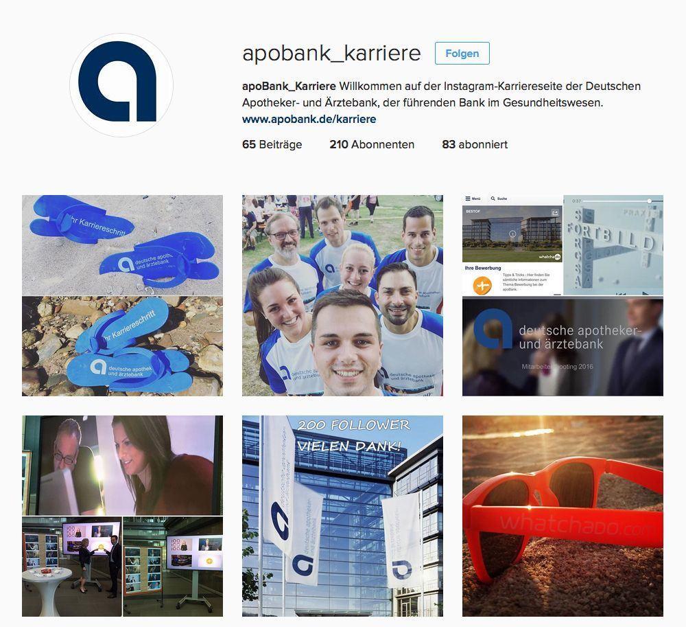 Der Instagram Kanal für das Personalmarketing der apoBank.
