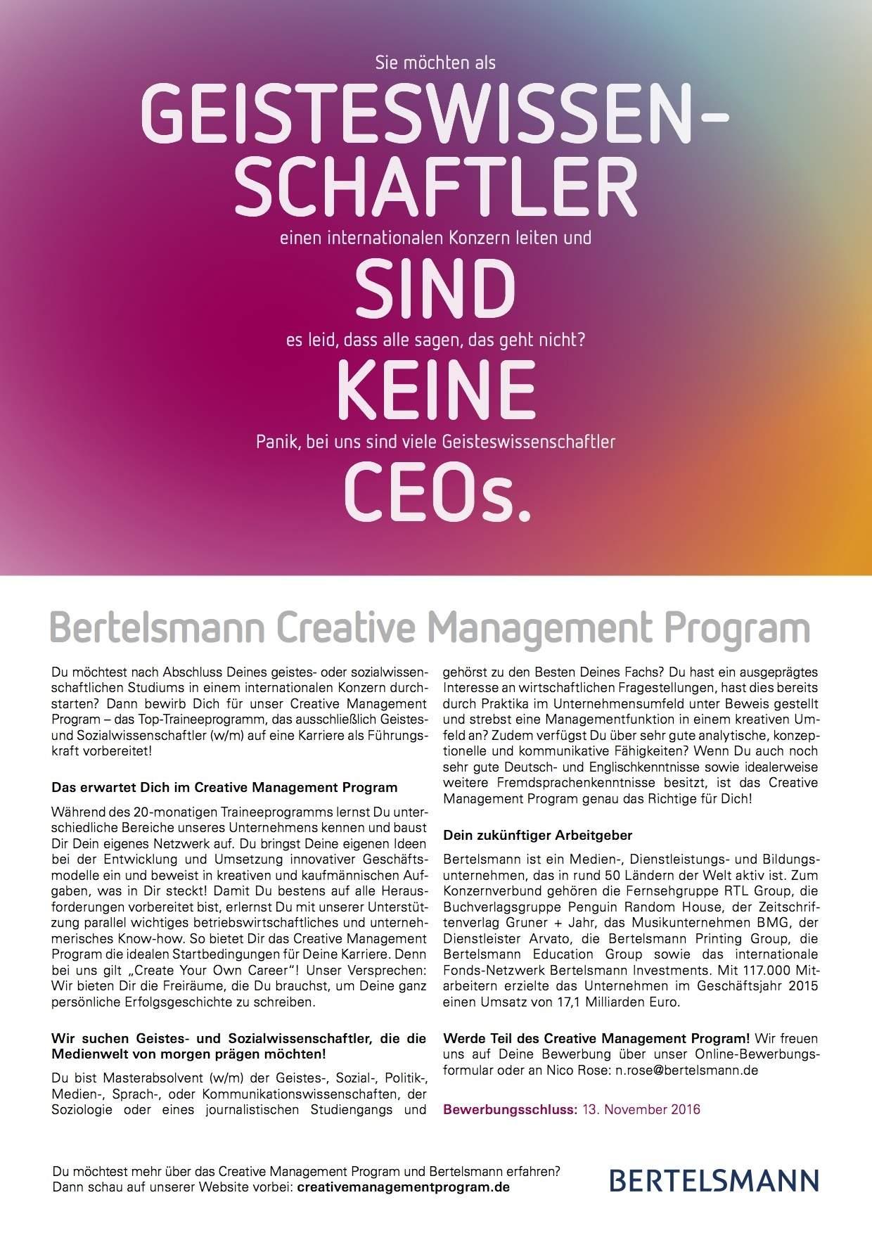 Zentrale Informationen zum Traineeprogramm für Geisteswissenschaftler bei Bertelsmann.