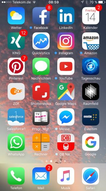 Apps für den (Büro-)alltag: der saatkorn. Startscreen.