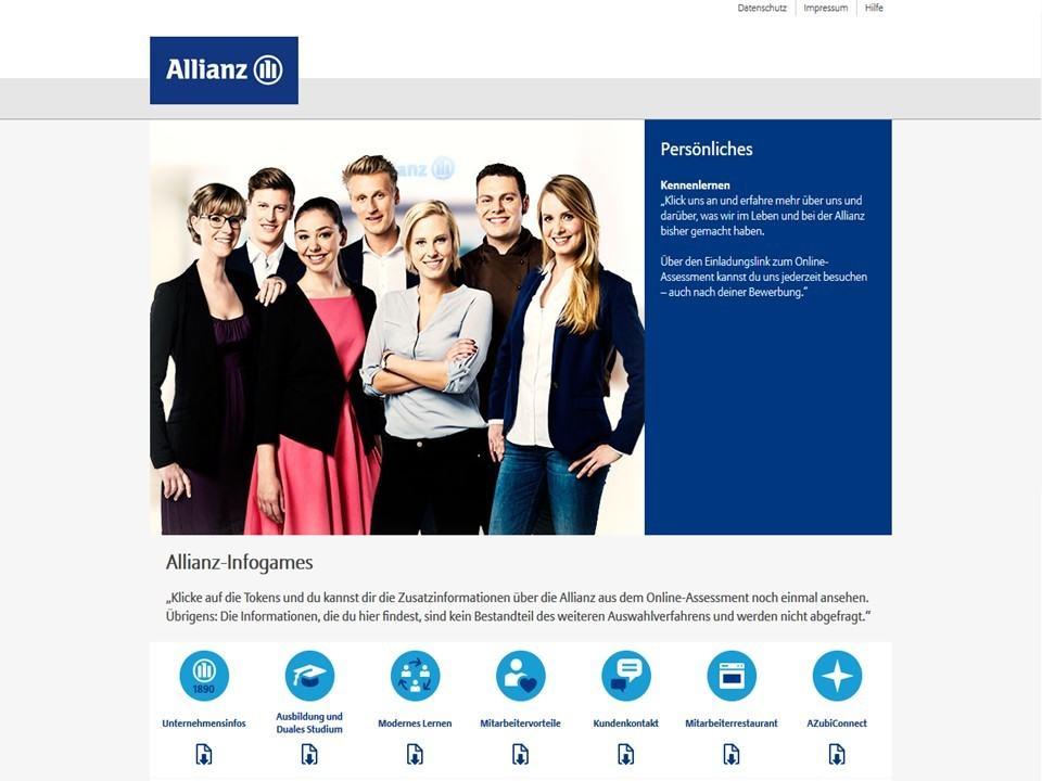 Der Allianz Infotainment Bereich.