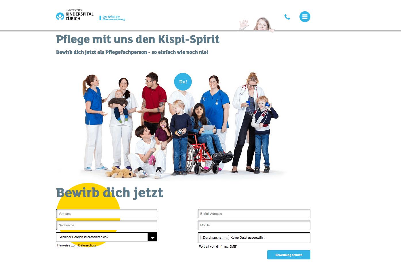 Die Karriereseite vom Kispi Zürich