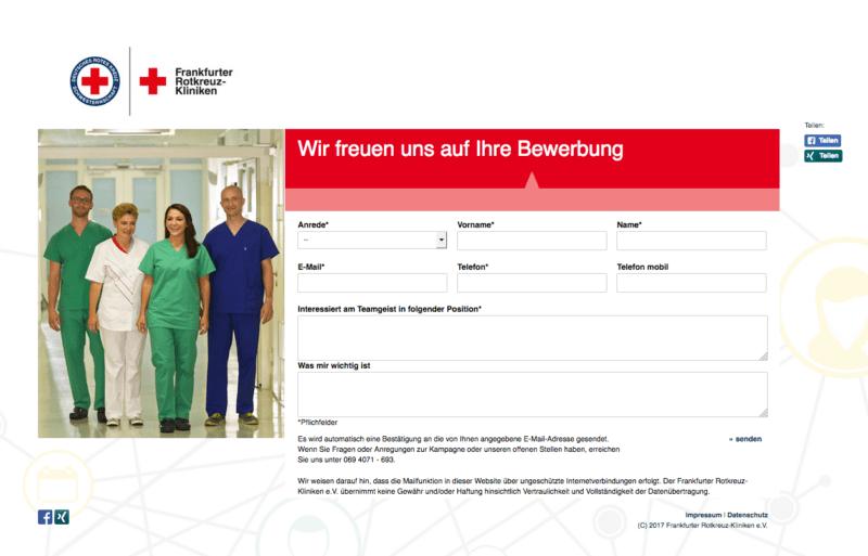 Kurzbewerbungstool bei den Frankfurter Rotkreuz Kliniken