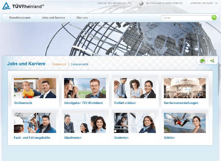 Employer Branding beim TÜV Rheinland: Karriereseite 2014