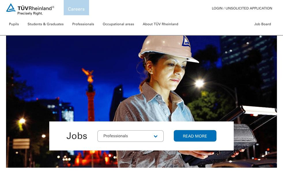 Employer Branding beim TÜV Rheinland: Karriereseite 2019