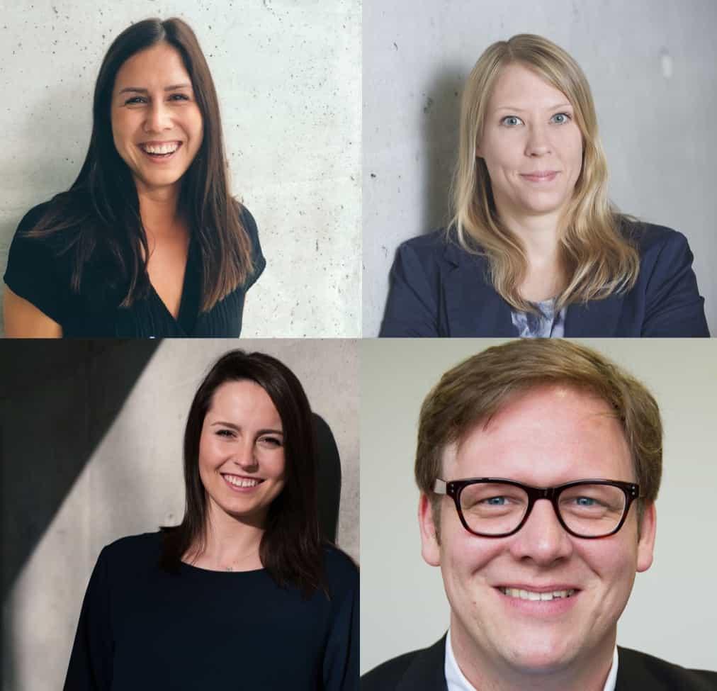 Das TERRITORY Embrace Team von links oben nach rechts unten: Marina Schaefer, Anna Schroeder, Pauline Stanasiuk, Denis Buss