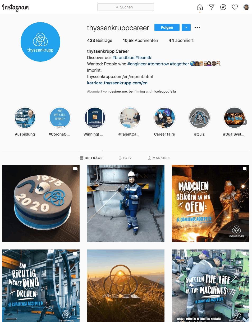 Der Instagram Kanal von thyssenkrupp: @thyssenkruppcareer
